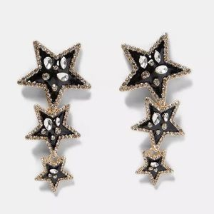 NEW Black Silver Gold Crystal Star Dangle Earrings